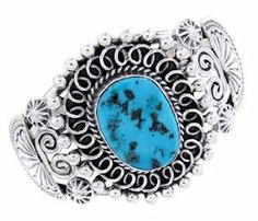 Navajo Sleeping Beauty Turquoise And Sterling Silver Cuff Bracelet AW64812 SilverTribe. $349.99