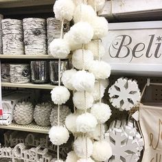 Dreaming of white #ChristmasDecor -- complete with pom-pom garland! (: @southernheather) Link in bio. #HobbyLobbyRun #Regram