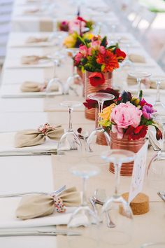 tin cans painted copper for centerpieces