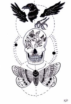 Aquarius, moth, crow, skull, goldfish, black and white