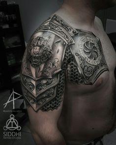 Photo tattoo original tattoo ideas for men shoulder ideas armor tattoo design ideas men masculine Armor Sleeve Tattoo, Armour Tattoo, Shoulder Armor Tattoo, Body Armor Tattoo, Shield Tattoo, Best Sleeve Tattoos, Cool Chest Tattoos, Tattoo Sleeve Designs, Tattoo Designs Men