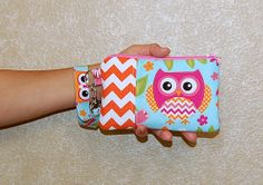 Chevron Bird and Owl - Wristlet Purse with Removable Wristlet Strap and Interior Pocket