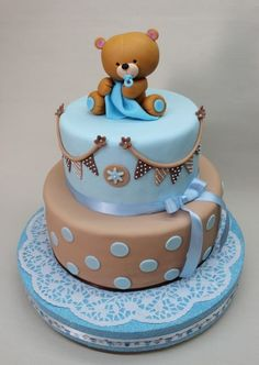Baby Shower Cupcakes Cakes For Boys Teddy Bears Ideas For 2019 Torta Baby Shower, Baby Shower Cupcake Cake, Cupcake Cakes, Baby Shower Cakes For Boys, Baby Cakes, Decors Pate A Sucre, Teddy Bear Cakes, Teddy Bears, Teddy Bear Birthday Cake