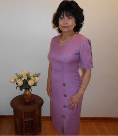 A elegant dress made from Teijen Linen which is highly breathable and absorbent and perfect for high humidity climates. Sophisticated Style, Elegant, Petal Sleeve, High Humidity, Haute Couture Fashion, High End Fashion, Sewing Tips, I Dress, Dress Making