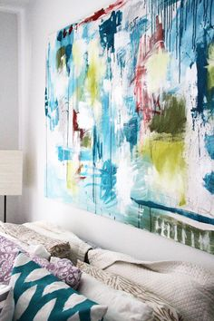 1). Get a blank canvas 2). Get paint/colors that match the color scheme of your desire room 3). Go crazy. 4). Hang it up! Love this idea! You could have one for every room if you wanted, maybe even use old objects/furniture instead of a blank canvas!
