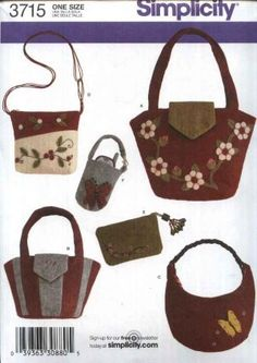 So much fun to express yourself! Simplicity Sewing Pattern 3715 Washed Felt Appliqued Bags Accessories Purse Handbag Tote