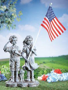 Patriotic Children Garden Statue