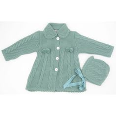 Abrigo de lana con trenzas y pompones. Incluye capota XX