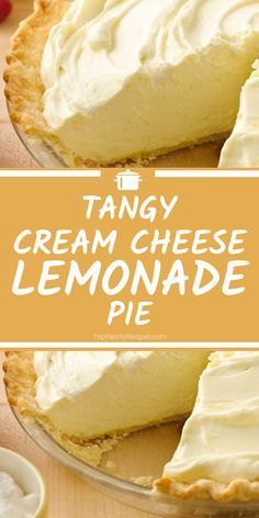 Tangy Cream Cheese Lemonade Pie that is delicious and sweet for the perfect after dinner dessert! Tangy Cream Cheese Lemonade Pie that is delicious and sweet for the perfect after dinner dessert! Best Lemon Pie Recipe, Lemon Recipes, Pie Recipes, Martini Recipes, Cocktail Recipes, Lemon Desserts, Just Desserts, Delicious Desserts, Easy Cream Cheese Desserts