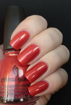 China Glaze: Jamaican Out- nice subtle shimmer, a deep melon color- looks great with China Glaze- Thataway