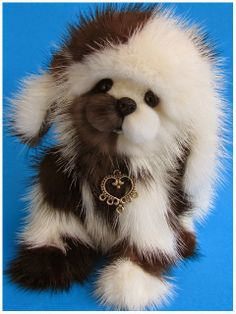 Handmade puppy, Tasmin made from recycled vintage mink furs by Blue Valley Bears.