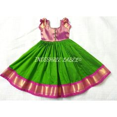 Custom made this Semi Kanjivaram Pattu Dress with Puff Sleeve Detail for our lovely client Ganila's lil princesses 💚❤️ . Swipe left… Source by Blouses Girls Frock Design, Kids Frocks Design, Baby Frocks Designs, Baby Dress Design, Kids Dress Wear, Kids Gown, Baby Girl Frocks, Frocks For Girls, Mom And Baby Dresses
