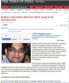 Our Director Mr. Neelesh Jain's Latest Article in Times of India over outlook of investment in property market of Indore.   Click the below link to follow the link:   http://content.magicbricks.com/industry-news/indore-real-estate-ideal-for-short-long-term-investments?fromSite=toi&utm_source=toi&utm_medium=referral&utm_campaign=toi-mb-navbar