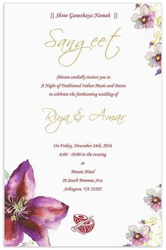 Wedding Invitation Wording For Sangeet Ceremony Indian Cards Invitations Beautiful