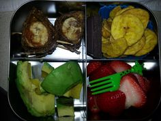 Adult Snack Bento -banana, sunbutter rollup on ancient grains wrap -dark chocolate -plantain chips -avocado -strawberries