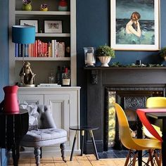 Redecorate front room (Hague Blue walls and alcove shelving in Lamp Room Gray) Living Room Grey, Home Living Room, Living Room Designs, Living Room Decor, Front Room Decor, Front Rooms, Kitchen Living, Living Spaces, Alcove Shelving