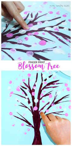 Arty Crafty Kids | Art | Spring Crafts for Kids | Finger Print Spring Blossom Tree | A fun and hands on way for toddlers and preschoolers to explore the changing seasons. A great spring craft for kids.