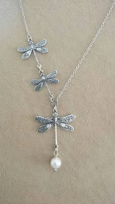 Dragonfly Necklace - Vintage Antique Silver Dragonfly Necklace with crystal pearl.
