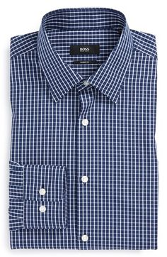BOSS 'Marlow' Sharp Fit Check Dress Shirt available at #Nordstrom