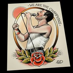 Freddie Mercury Tattoo Flash Art Print