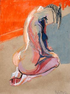 My woman kneels on a throne  Robert Bubel (Polish, b. 1968, Zarki, Poland) - For F.Bacon. The Nude, 2012    Painting: Oil Pastel on Paper   me
