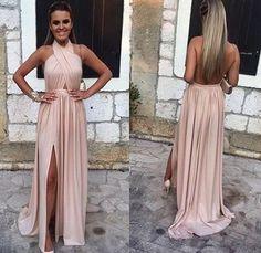 Backless Halter Prom Dress with Slit
