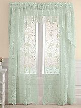 Add style to any room with Blair's selection of embellished window sheers. Shop beautiful lace sheers & transparent curtains to complement your home perfectly! Vintage Curtains, Floral Curtains, Modern Curtains, Diy Curtains, Lace Window, Window Cornices, Girl Cave, Sheer Curtain Panels, Beautiful Curtains