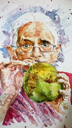 An old Woman drinking coconut water!! - Painting by Kashish Rabbani in Portraits By Kash! at touchtalent 31880