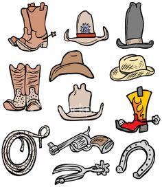 Cowboy Accessories Bonus Pack Royalty Free Stock Vector Art Illustration