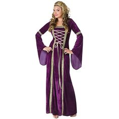 Purple Renaissance Womens Lady Costume ($50) ❤ liked on Polyvore featuring costumes, halloween costumes, multicolor, ladies costumes, renaissance halloween costumes, purple costume, womens costumes and robin hood halloween costume