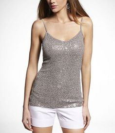 SEQUIN V-NECK CAMI at Express