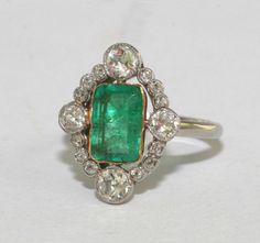 Art Deco Emerald Engagement Rings