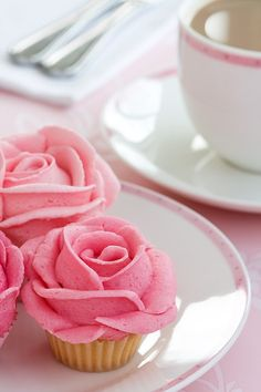Pink rose shaped cupcakes are perfect for a bridal shower or bachelorette party!