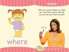 WHERE: wave your pointer finger back and forth, like you're not sure where to point