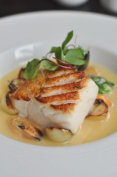 Dinner by Heston - Cod in Cider Fish Dishes, Seafood Dishes, Seafood Recipes, Gourmet Recipes, Cooking Recipes, Healthy Recipes, Gourmet Desserts, Sushi Recipes, Plated Desserts