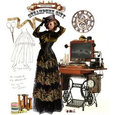 ✨SteamPunk City✨ Seamstress Samantha by smylin on Polyvore featuring art Steampunk City, City Style, Polyvore, Fashion Design, Doll, Sewing, Women, Art, Art Background