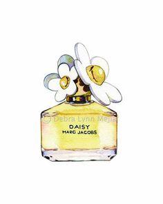 Daisy by Marc Jacobs Perfume Bottle Watercolor  Print   http://www.etsy.com/shop/debralynnmejia