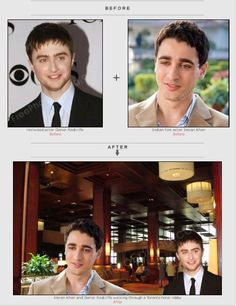 Harry Pottter actor Daniel Radcliffe & Imran Khan placed together to accentuate their similar looks. View photo editing example of photo merging, background change.  http://www.freephotoediting.com/samples/change-background/056_imran-khan-and-daniel-radcliffe-in-toronto-hotel.htm