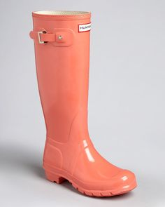 HUNTER ORIGINAL GLOSS TALL FLAME WELLINGTON BOOTS Welly RED ORANGE CORAL BN