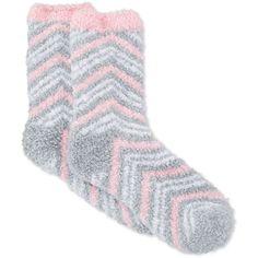 Charter Club Women's Butter Super Soft Double Zigzag Pop Socks ($7.50) ❤ liked on Polyvore featuring intimates, hosiery, socks, light grey, fuzzy socks, zig zag socks and charter club