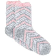 Charter Club Women's Butter Super Soft Double Zigzag Pop Socks (£4.98) ❤ liked on Polyvore featuring intimates, hosiery, socks, light grey, charter club, fuzzy socks y zig zag socks
