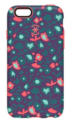 Speck Products CandyShell Inked Case for iPhone 6/6S - Retail Packaging- Kurbits Floral Teal/Warning Orange