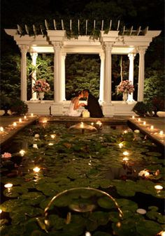 ... floating candles in the reflection pool