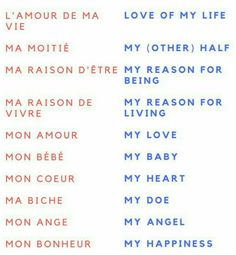 I learned these in French class for valentine days
