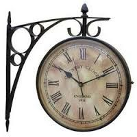 Wall train station clock - Bistro style clock - Double sided wall clock