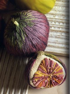 Figs from: Embroidered Flora & Fauna: Three-Dimensional Textured Embroidery by Lesley Turpin-Delport and Nikki Delport-Wepener -- Apparently this book is out of print. Too bad. Ribbon Embroidery, Beaded Embroidery, Embroidery Stitches, Embroidery Designs, Impression Textile, Art Du Fil, Textiles, Textile Fiber Art, Thread Art