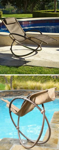 Orbital Rocking Outdoor Lounger   Folds Up For Easy Storage