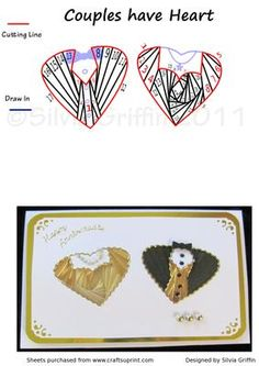 Couples Have Heart on Craftsuprint designed by Silvia Griffin - Lovely heart shaped couple for Anniversary or Wedding .Use the appropriate color paper for the differed anniversaries like gold, silver, pearl, ruby and so on.Used gold on this example and matched her dress to his shirt. - Now available for download!