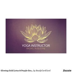 Glowing Gold Lotus & Purple Grunge Yoga Instructor Business Card