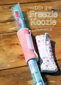 Easy to sew Freezie Coozie with a dollar store wash cloth. 1 wash cloth makes 4 Koozies!